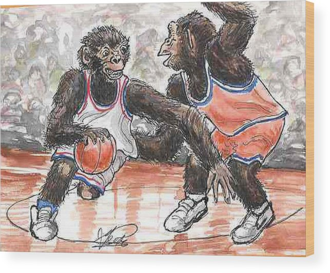 Basketball Wood Print featuring the painting Out of my Way by George I Perez