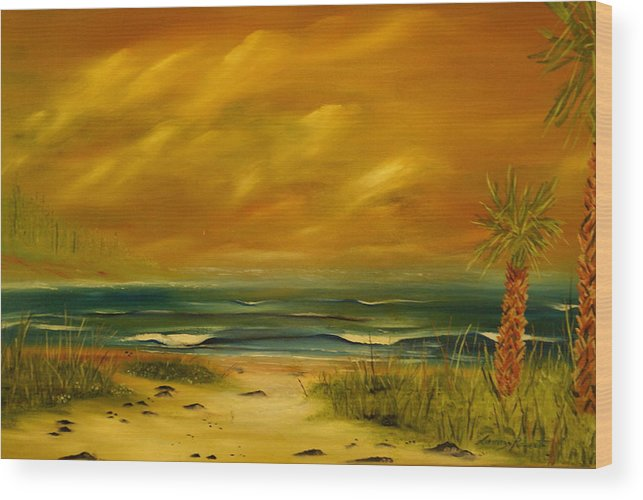 Sea Shore/palms/beach/skys Wood Print featuring the painting Palm Island by Lorenzo Roberts