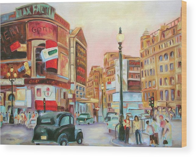 Cityscape Wood Print featuring the painting Picadilly by Ginger Concepcion