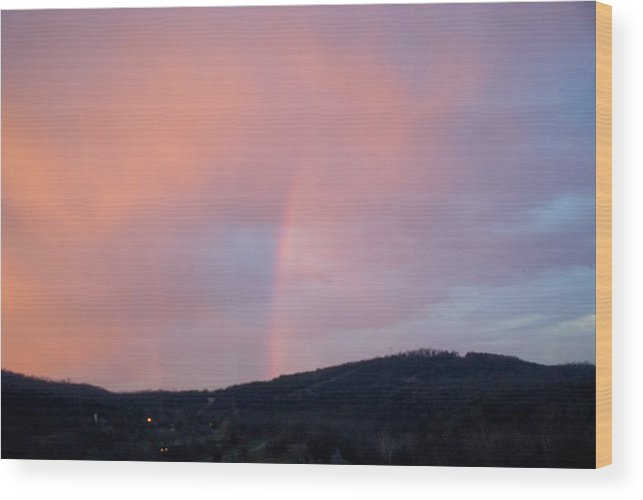 Pink Clouds Wood Print featuring the photograph Pink clouds with rainbow by Toni Berry