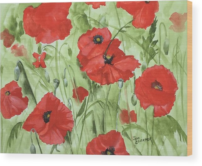 Red Wood Print featuring the painting Poppy Field 1 by Jean Blackmer