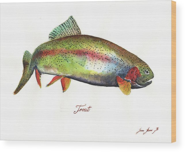 Rainbow Trout Wood Print featuring the painting Rainbow trout by Juan Bosco