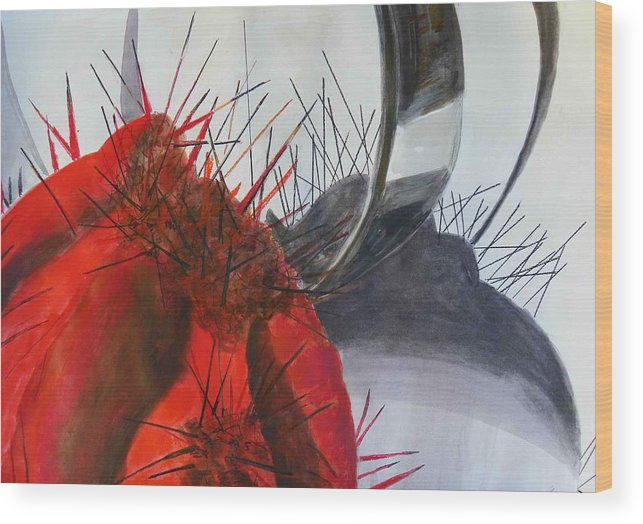 Red Cactus Wood Print featuring the painting Red Cactus Shadows by Evguenia Men