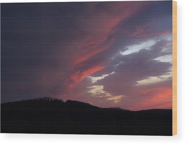 Red Clouds Wood Print featuring the photograph Red Clouds 2 by Toni Berry