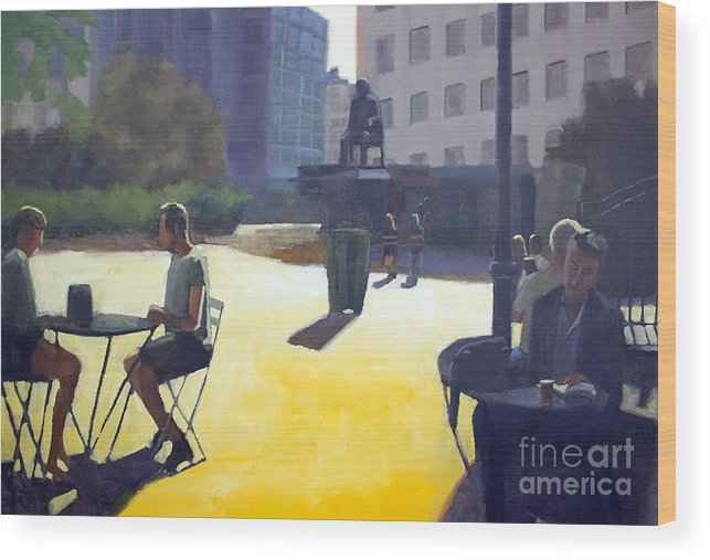 Cityscape Wood Print featuring the painting Respite in the city by Tate Hamilton