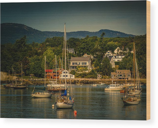 Maine Wood Print featuring the photograph Rockport Harbor 3081 by Neil Doren