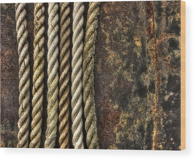 Rope Wood Print featuring the photograph Ropes by Evelina Kremsdorf
