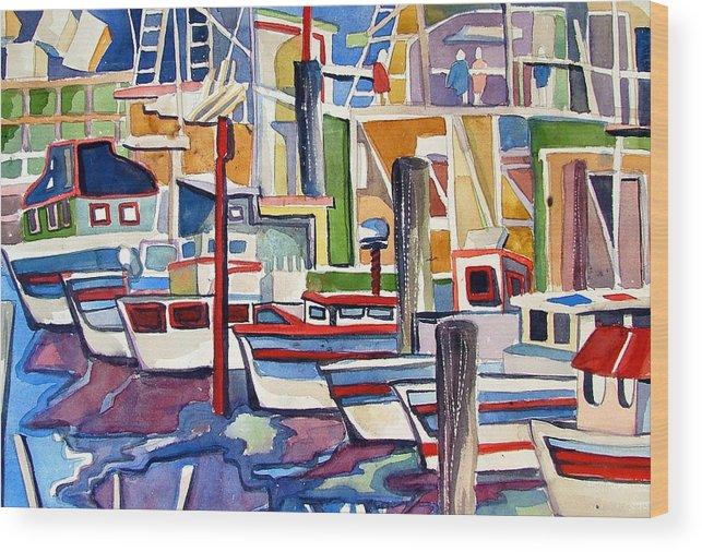 Marina Wood Print featuring the painting San Fransico Marina by Mindy Newman