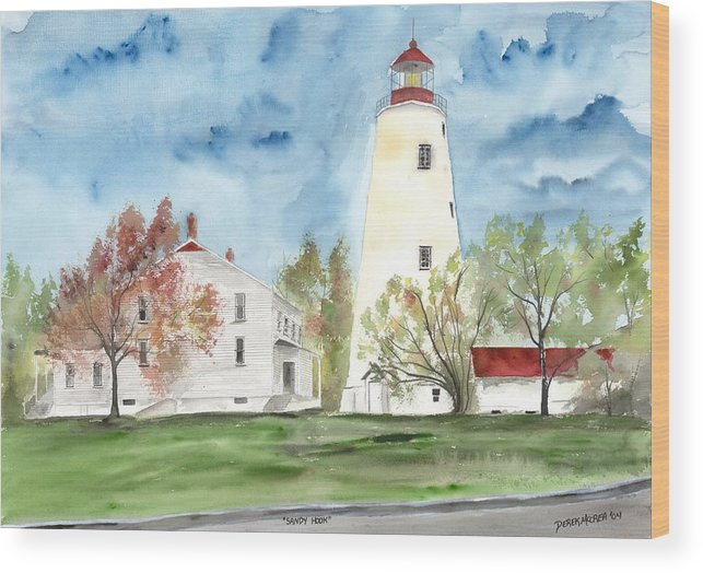 Watercolor Wood Print featuring the painting Sandy Hook Lighthouse by Derek Mccrea