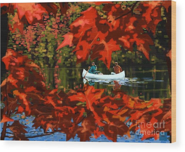 Fall Wood Print featuring the painting Scenic Autumn canoe by Sassan Filsoof