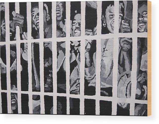 Civil Rights Wood Print featuring the painting Some Of The 210 Demonstrators Jailed Wave From Their Cell 1964 by Lauren Luna