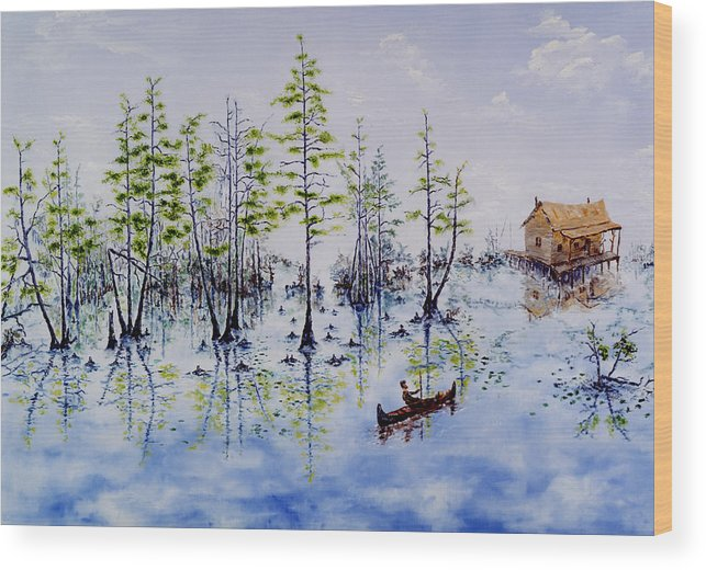 Swamp Wood Print featuring the painting Spanish Moss by Richard Barham