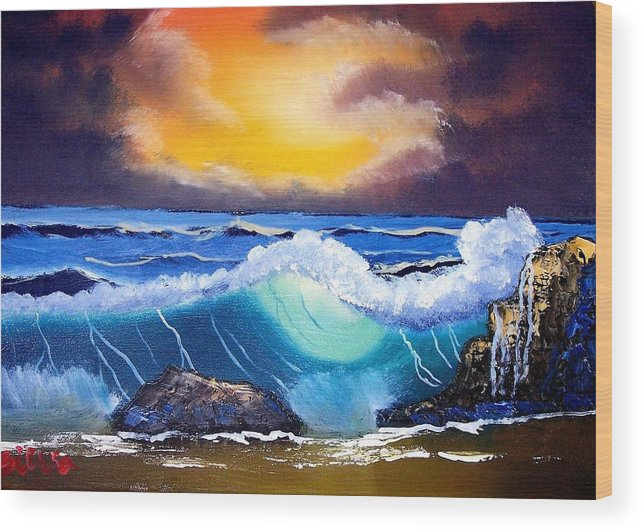 Landscape Wood Print featuring the painting Stormy Sunset Shoreline by Dina Sierra