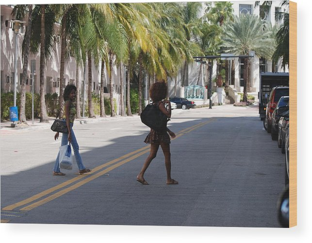 Girls Wood Print featuring the photograph Street Walkers by Rob Hans