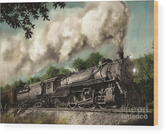 Baltimore & Ohio Railroad B&o Q4 Train Painting Railroad Maryland And Pennsylvania Autumn Fall Colors Steam Engine Wood Print featuring the painting Sunday Drive by David Mittner
