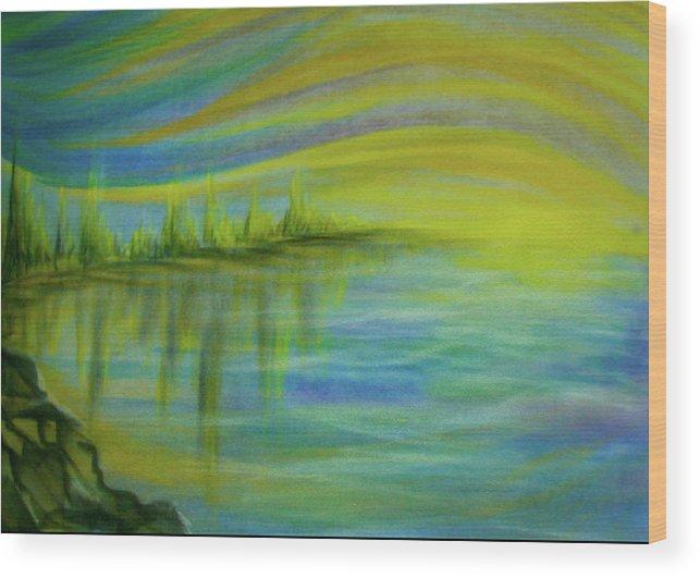 Sunrise Wood Print featuring the pastel Sunrise by Pam Ellis