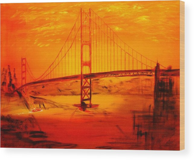 Sunset At Golden Gate Wood Print featuring the painting Sunset At Golden Gate by Helmut Rottler