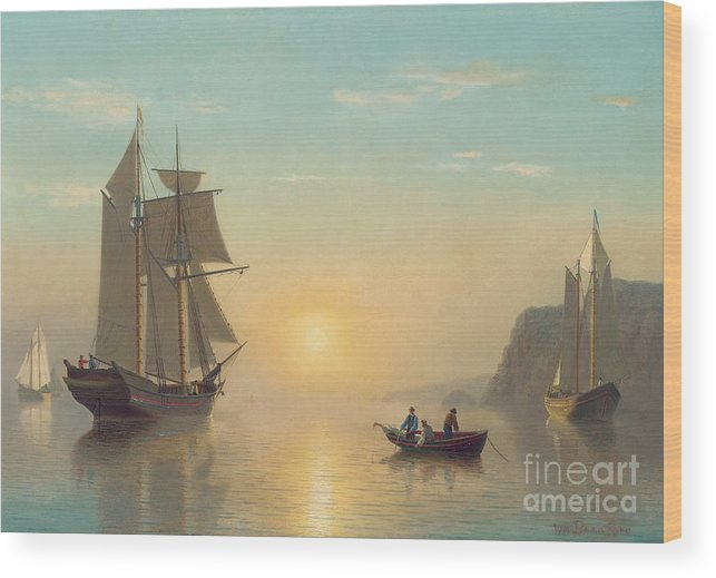 Boat Wood Print featuring the painting Sunset Calm in the Bay of Fundy by William Bradford