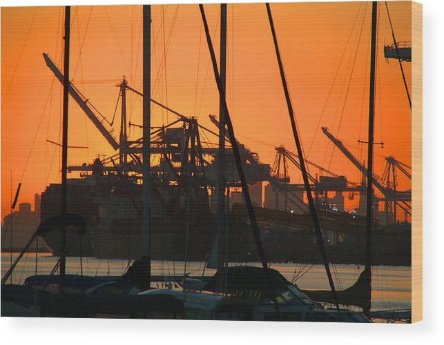 Sunset Wood Print featuring the photograph Sunset over Alameda Harbor by Charles Ridgway