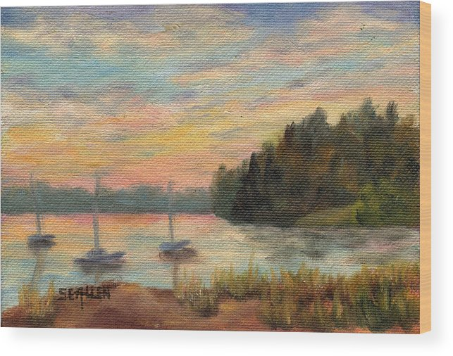 Sunset Wood Print featuring the painting Sunset Over Massabessic by Sharon E Allen