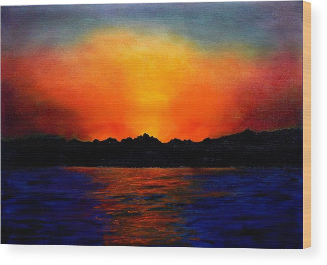 Sinai Sunset Wood Print featuring the painting Sunset Sinai by Helmut Rottler