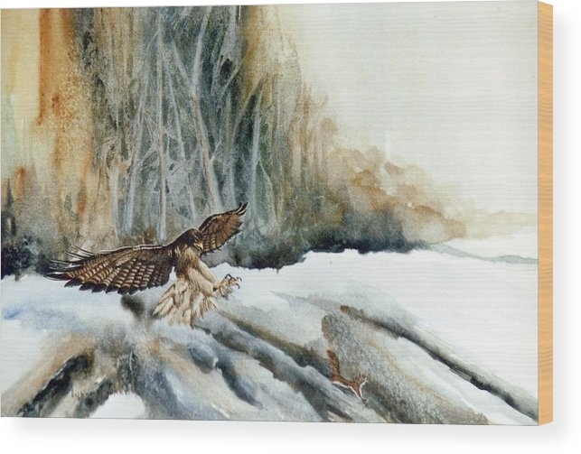 Redtail Hawk & Squirrel Wood Print featuring the painting Supper Maybe by Lynne Parker