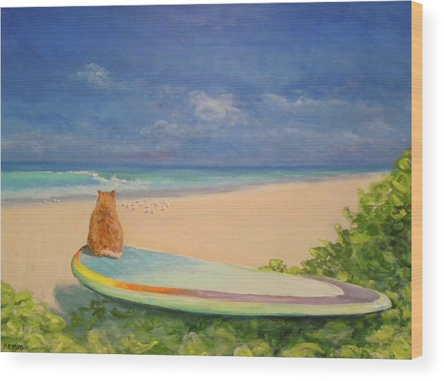 Cat Wood Print featuring the painting Surfer Cat by Paul Emig