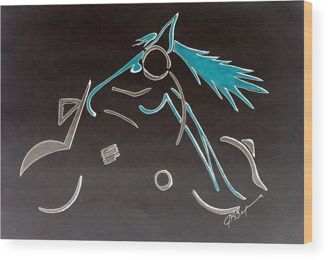 Abstract Wood Print featuring the digital art That Feeling Of Freedom - Night Runner by J R Seymour