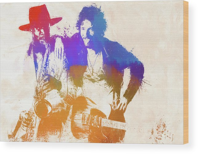 Bruce And The Big Man Wood Print featuring the painting The Boss And The Big Man by Dan Sproul