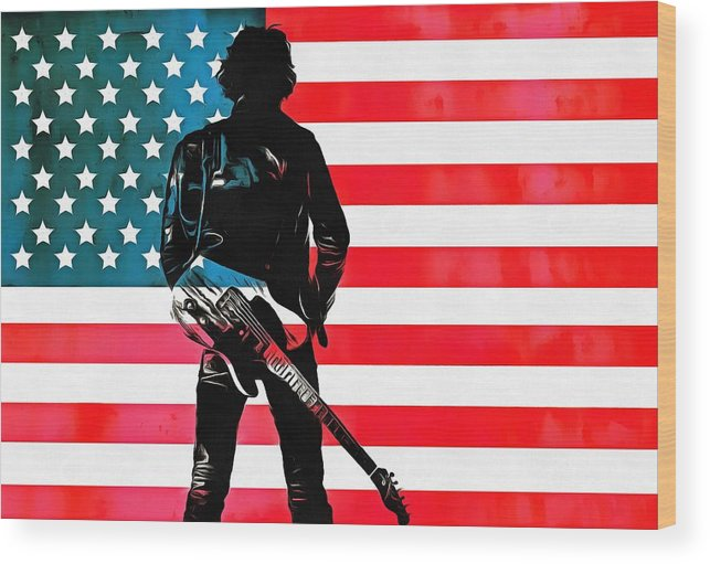 Springsteen American Icon Wood Print featuring the digital art The Boss by Dan Sproul