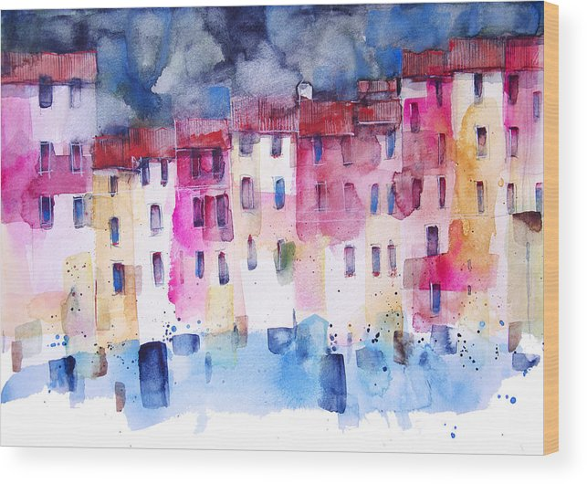 Architecture Wood Print featuring the painting The coloured houses of Portofino by Alessandro Andreuccetti