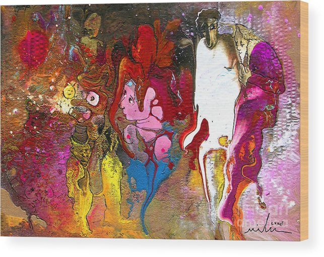 Miki Wood Print featuring the painting The First Wedding by Miki De Goodaboom