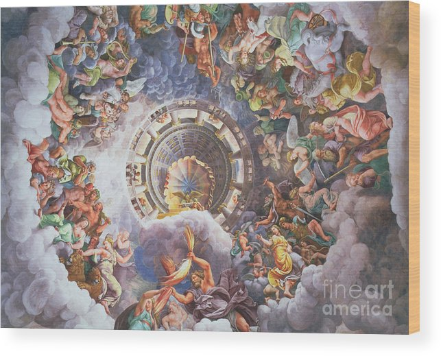 The Wood Print featuring the painting The Gods Of Olympus by Giulio Romano