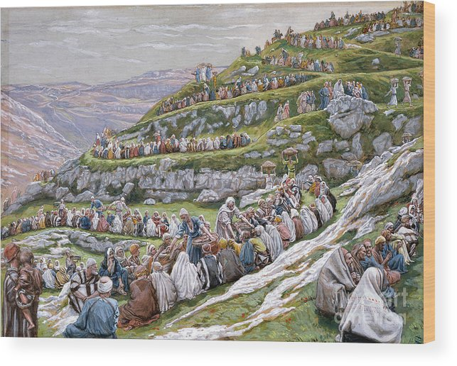 The Wood Print featuring the painting The Miracle Of The Loaves And Fishes by Tissot