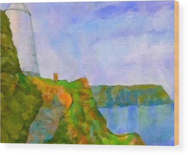 Pepper Pot Portreath Cornwall Wood Print featuring the digital art The Pepper Pot by Scott Waters