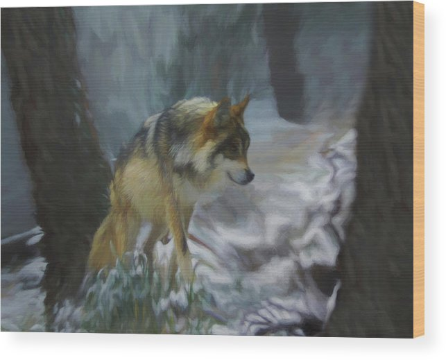 Wolf Wood Print featuring the digital art The Searching Wolf by Ernie Echols