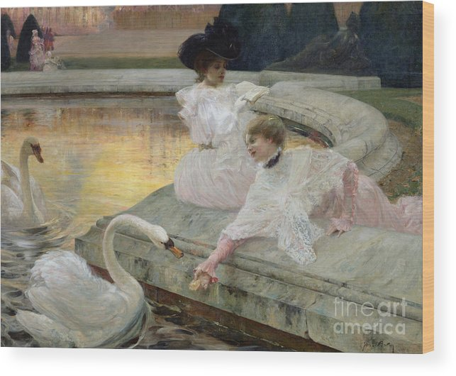 The Swans Wood Print featuring the painting The Swans by Joseph Marius Avy