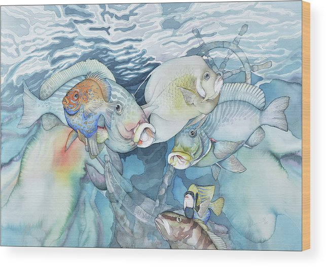 Fish Wood Print featuring the painting The Wreck by Liduine Bekman