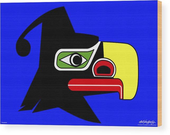 Thunderbird Wood Print featuring the painting Thunderbird by Asbjorn Lonvig