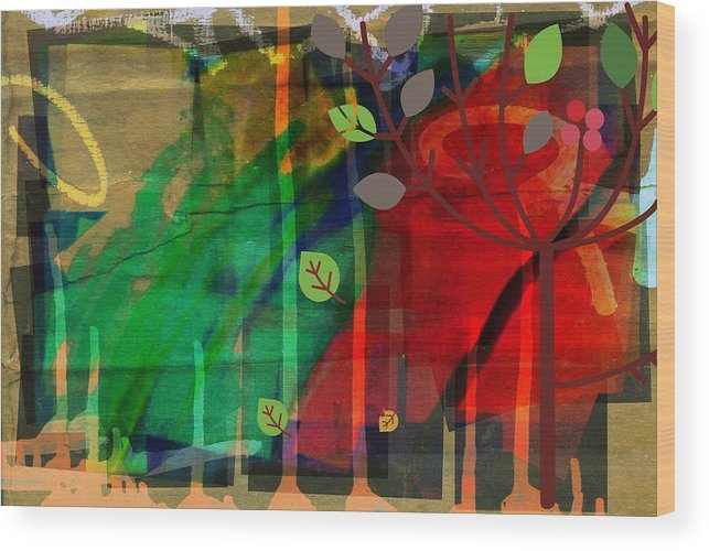 Abstract Color Wood Print featuring the digital art Tree and a skewed rainbow by Joseph Ferguson