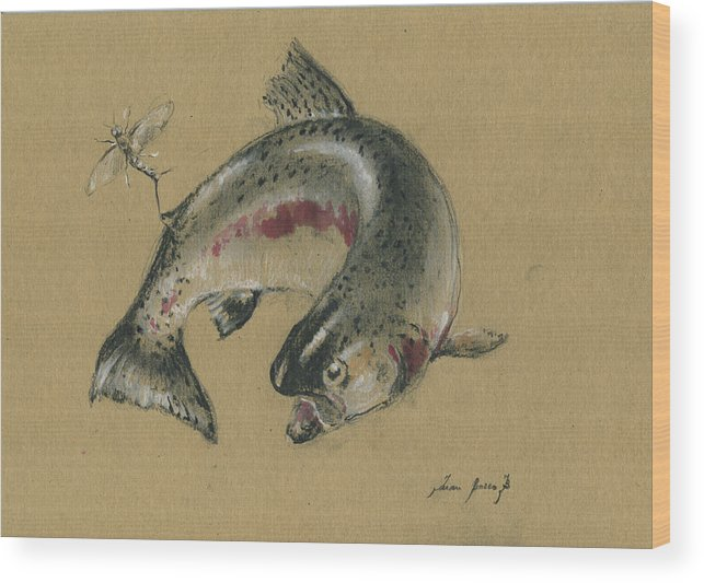 Trout Art Wood Print featuring the painting Trout eating by Juan Bosco