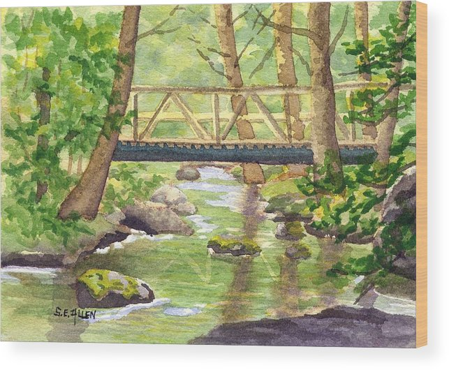 Stream Wood Print featuring the painting Tuckers Brook by Sharon E Allen