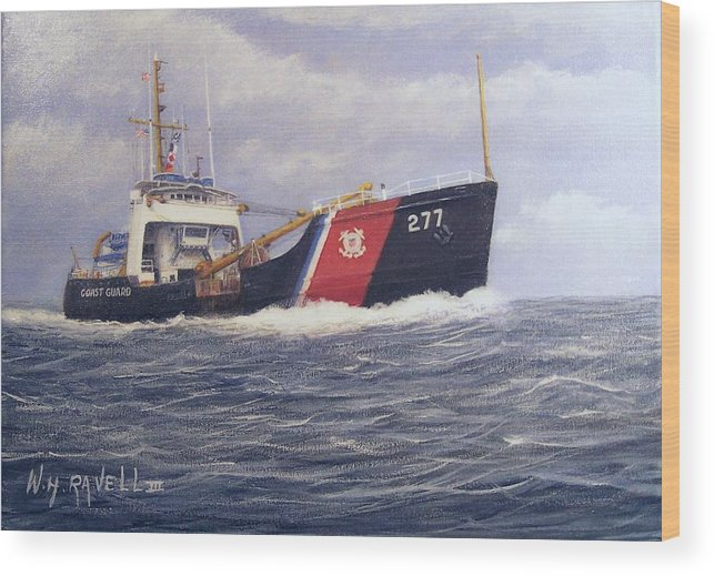 Seascape Wood Print featuring the painting U. S. Coast Guard Buoy Tender by William H RaVell III