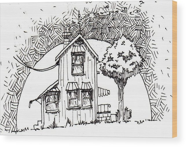 House Wood Print featuring the drawing Untitled by Tobey Anderson