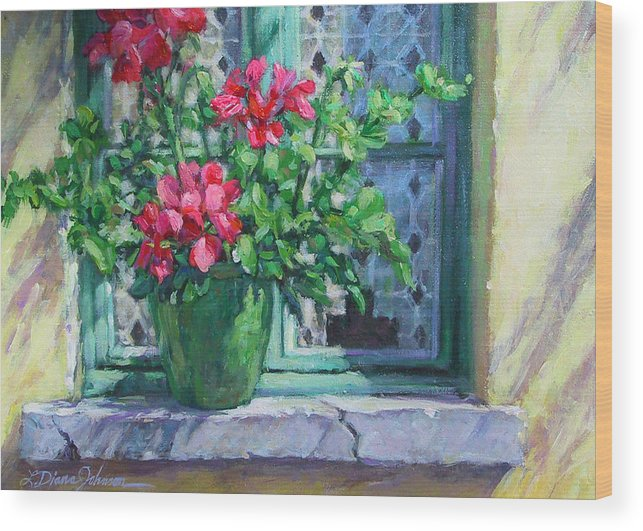 Red Geranium Wood Print featuring the painting Village Welcome Giverny France by L Diane Johnson