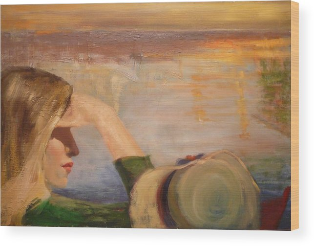 Side View Of A Girl Wood Print featuring the painting Watching the Sails by Irena Jablonski