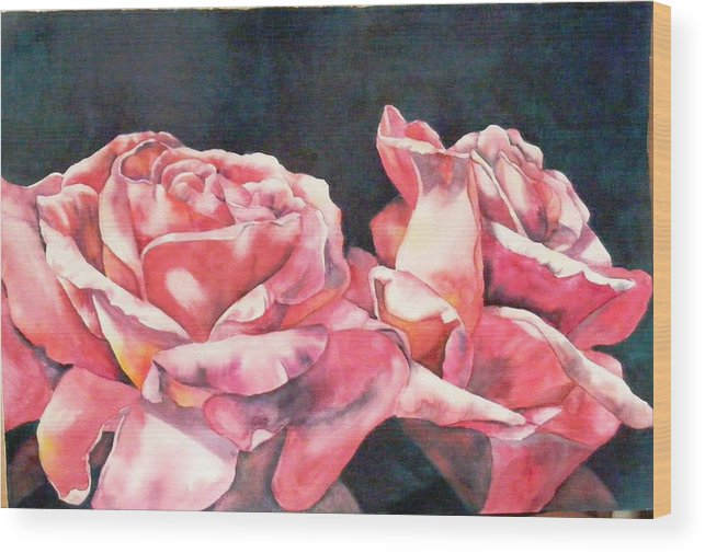 Roses Wood Print featuring the painting Watercolor Roses by Diane Ziemski