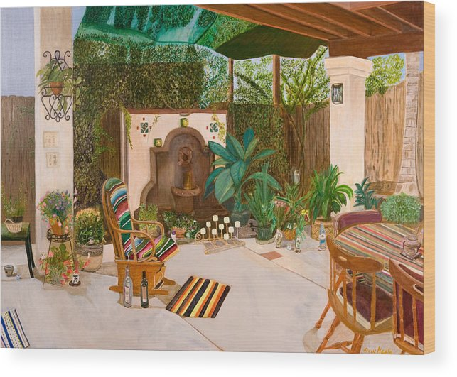 Landscape Wood Print featuring the painting Welcome to Paradise by Arvin Nealy