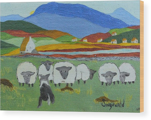 Celtic Wood Print featuring the painting Whos The Boss by Cary Singewald