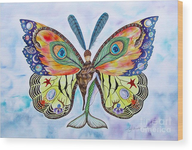 Butterfly Wood Print featuring the painting Winged Metamorphosis by Lucy Arnold